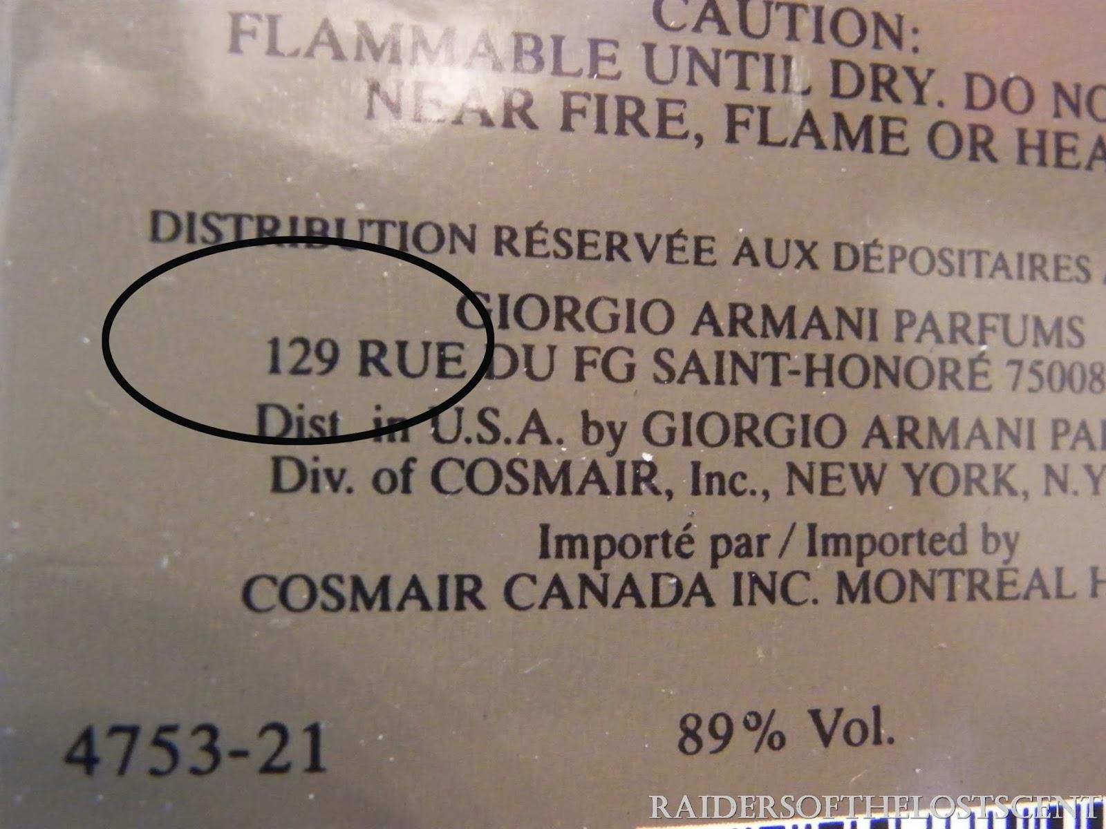Расшифровка кодов Armani