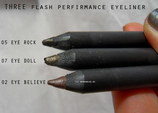 THREE Flash Performance Eyeliner Pencil 02, 05, 07  electric light